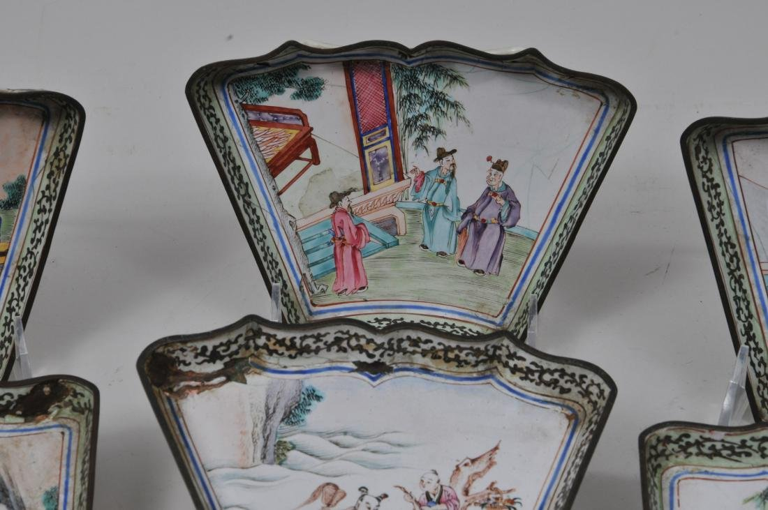 Lot of seven pieces of Canton enamel. Decoration of - 3