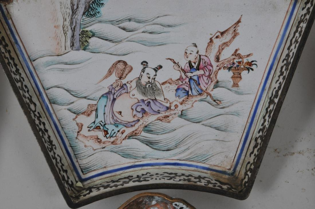Lot of seven pieces of Canton enamel. Decoration of - 6