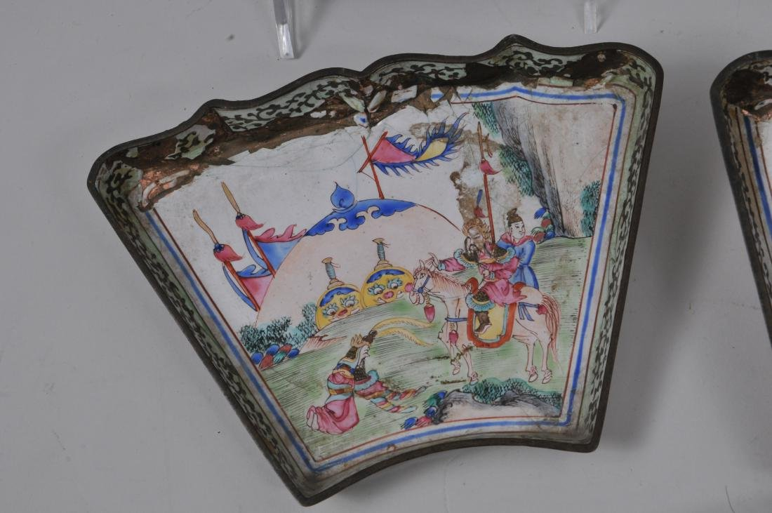 Lot of seven pieces of Canton enamel. Decoration of - 7