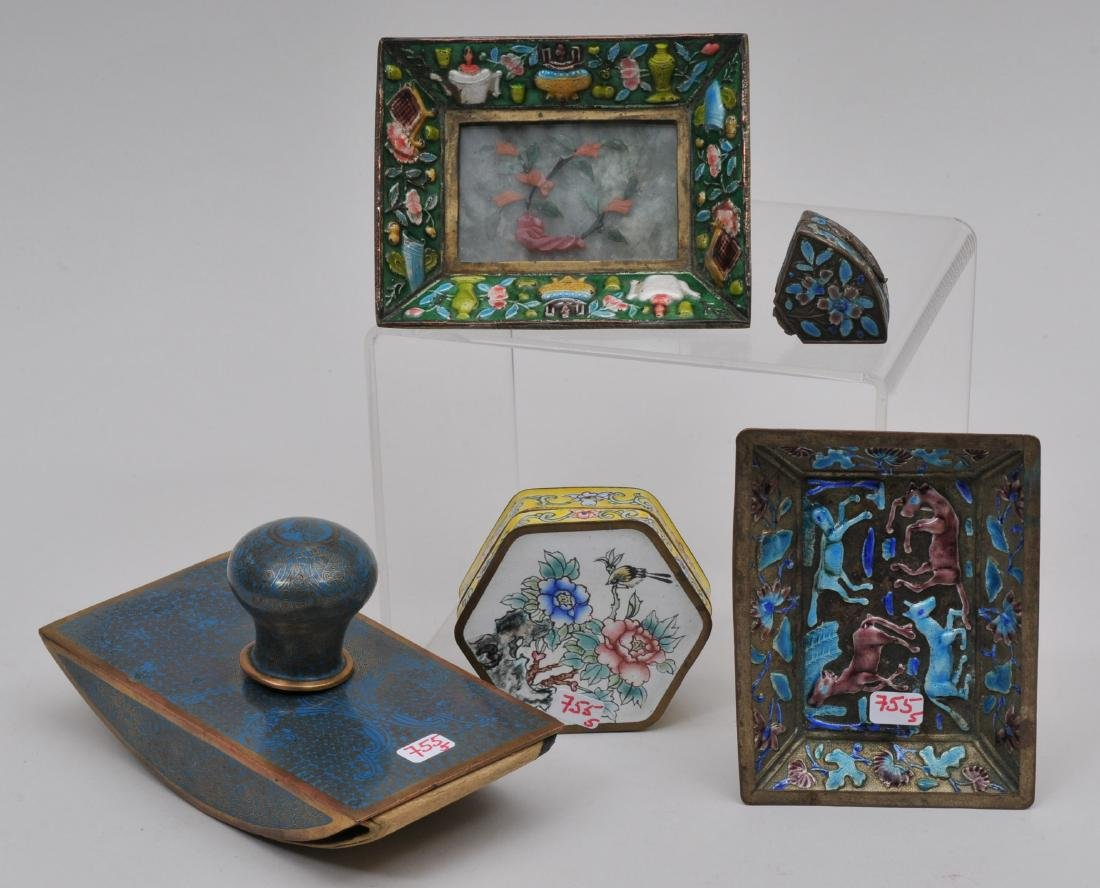 Lot of five enamel works. China. Early 20th century. To
