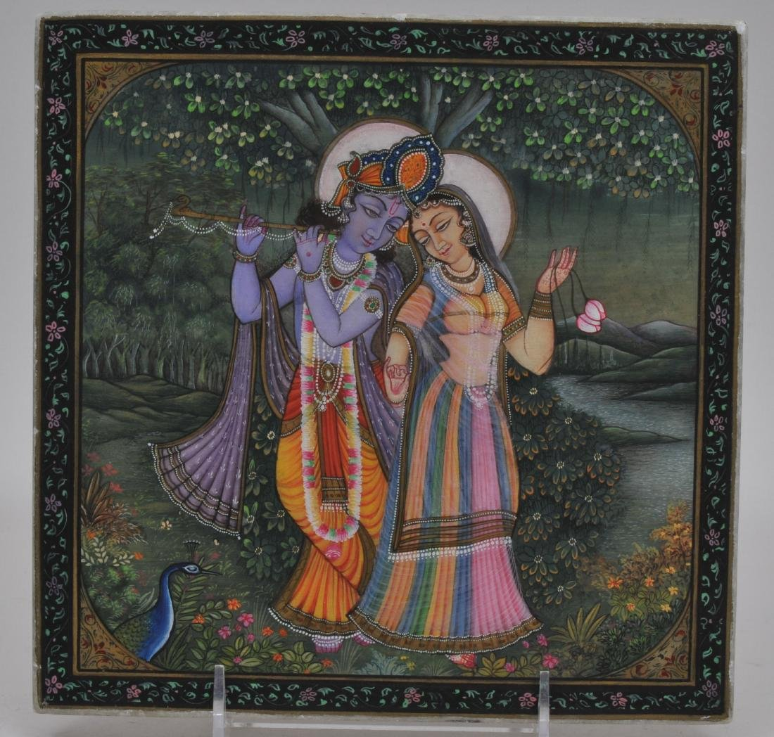Painted marble tile. India. 20th century. Scene of