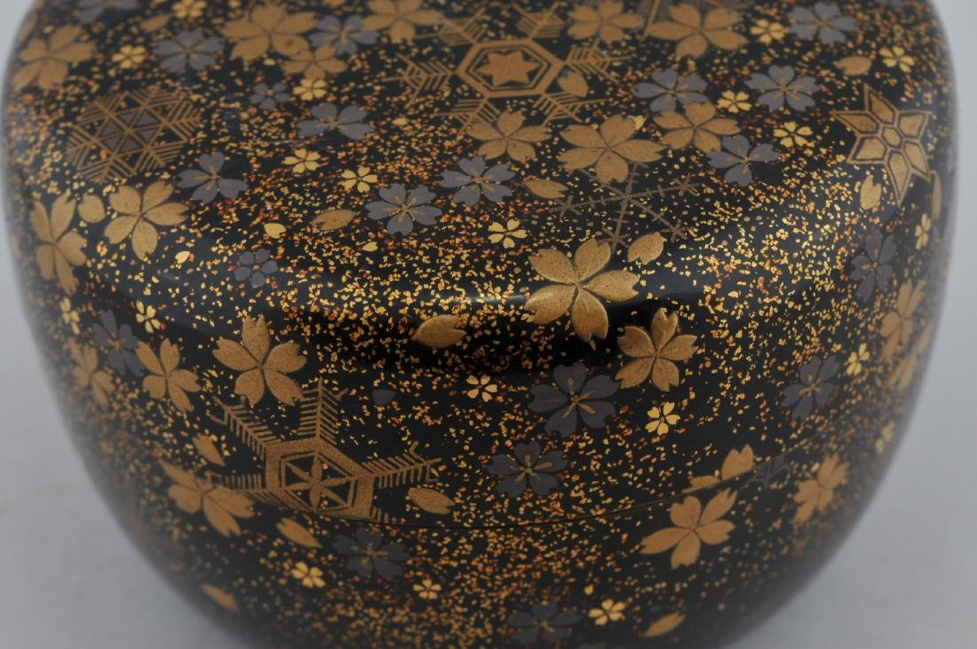 Tea caddy. Japan.  Lacquer. 19th century. Decoration of - 7