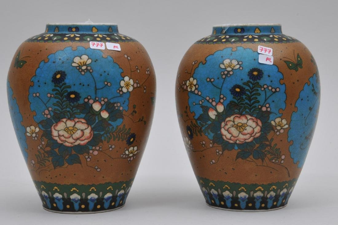 Pair of Cloisonné on porcelain vases. Japan. Meiji