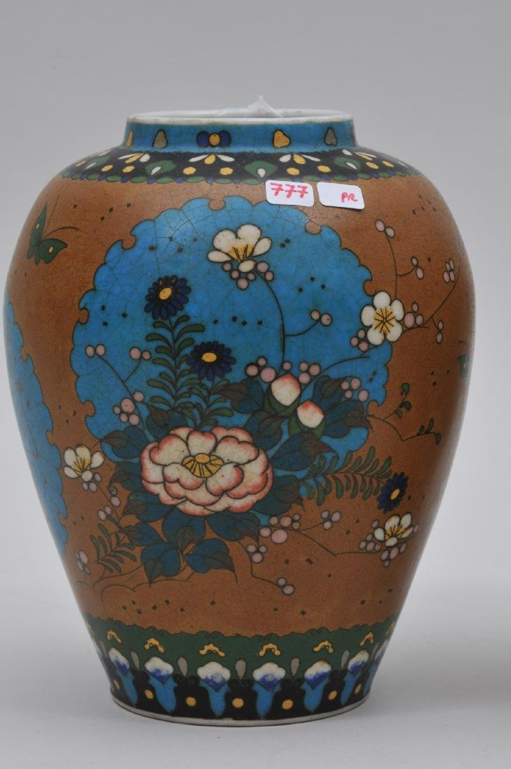 Pair of Cloisonné on porcelain vases. Japan. Meiji - 2