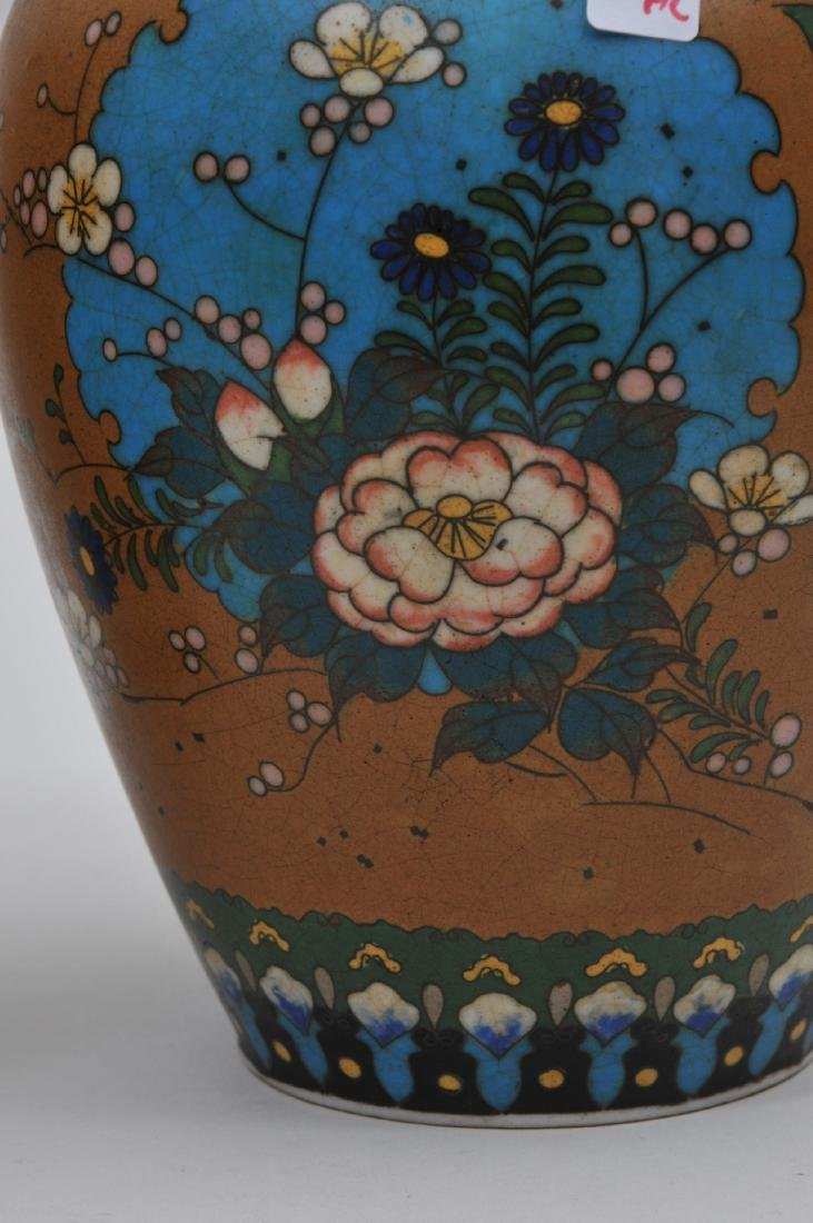 Pair of Cloisonné on porcelain vases. Japan. Meiji - 3