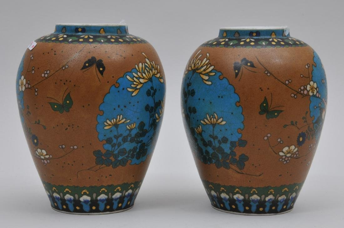 Pair of Cloisonné on porcelain vases. Japan. Meiji - 4