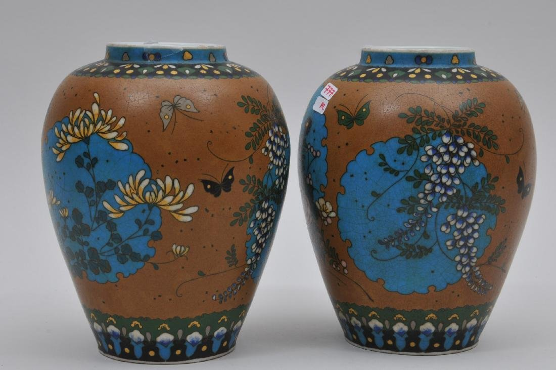 Pair of Cloisonné on porcelain vases. Japan. Meiji - 5
