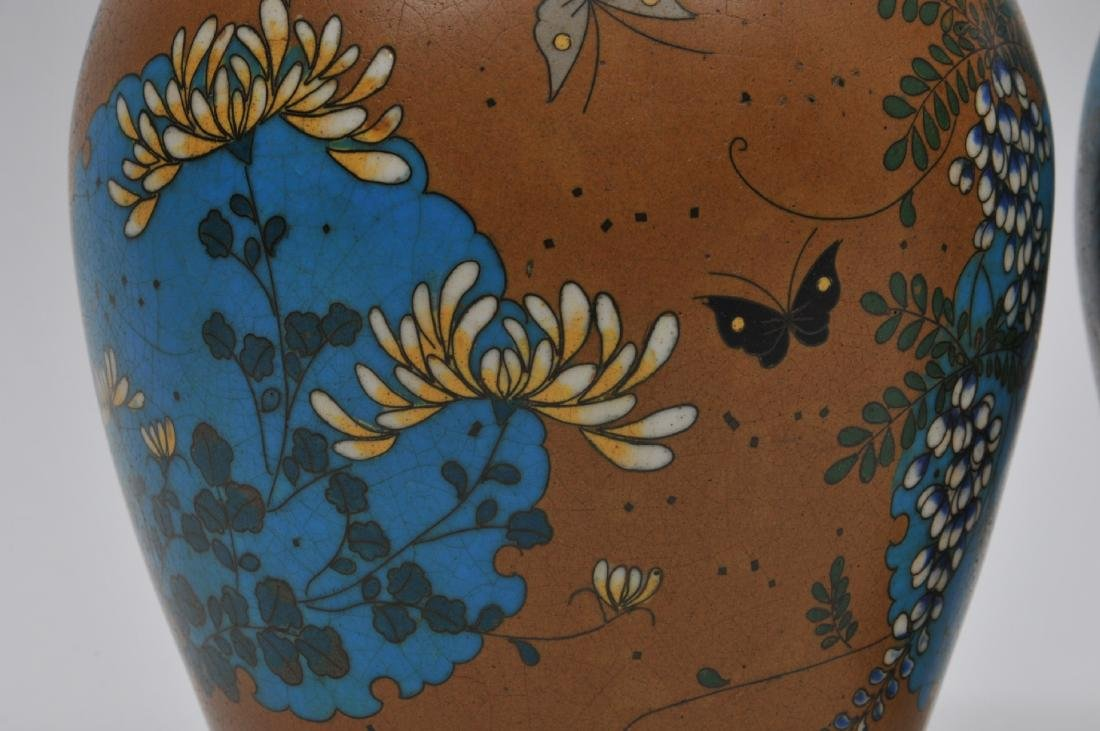 Pair of Cloisonné on porcelain vases. Japan. Meiji - 6