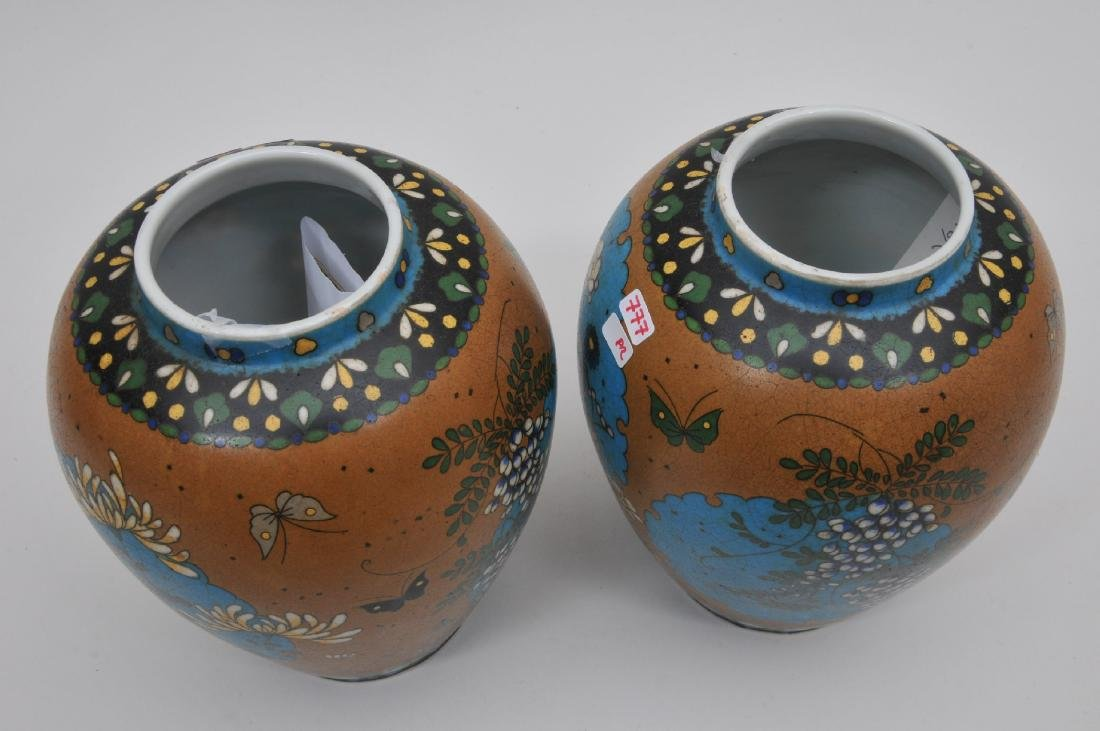 Pair of Cloisonné on porcelain vases. Japan. Meiji - 7
