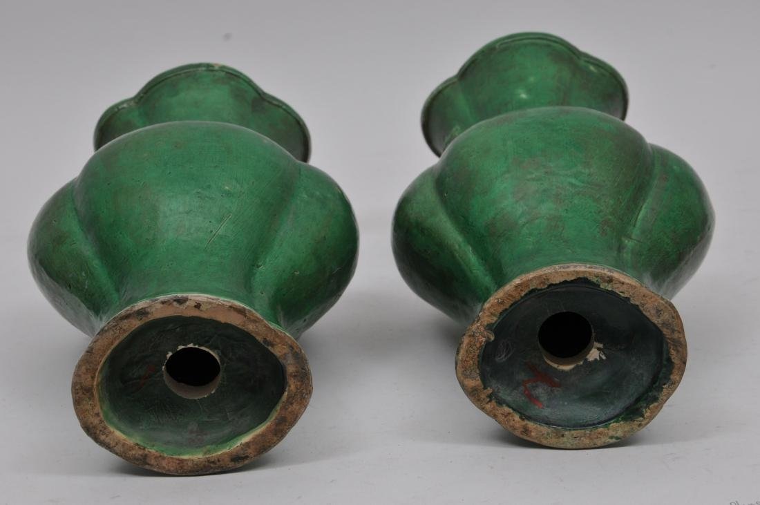 Pair of pottery vase. China. 19th century. Lobated - 9