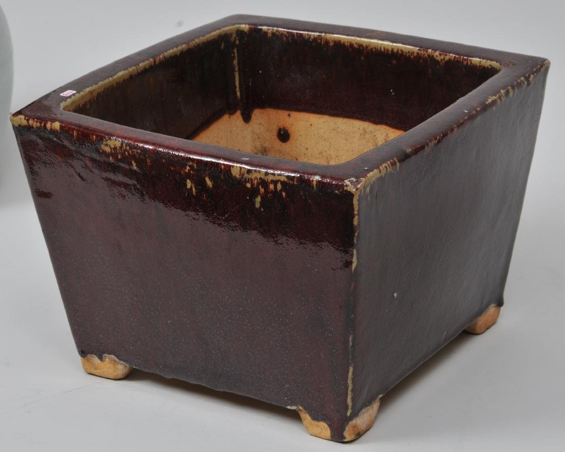 Square stoneware planter. China. Early 20th century.