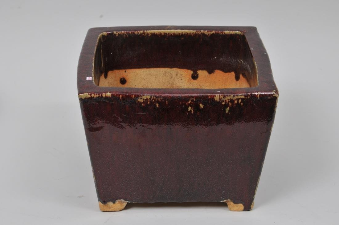 Square stoneware planter. China. Early 20th century. - 2