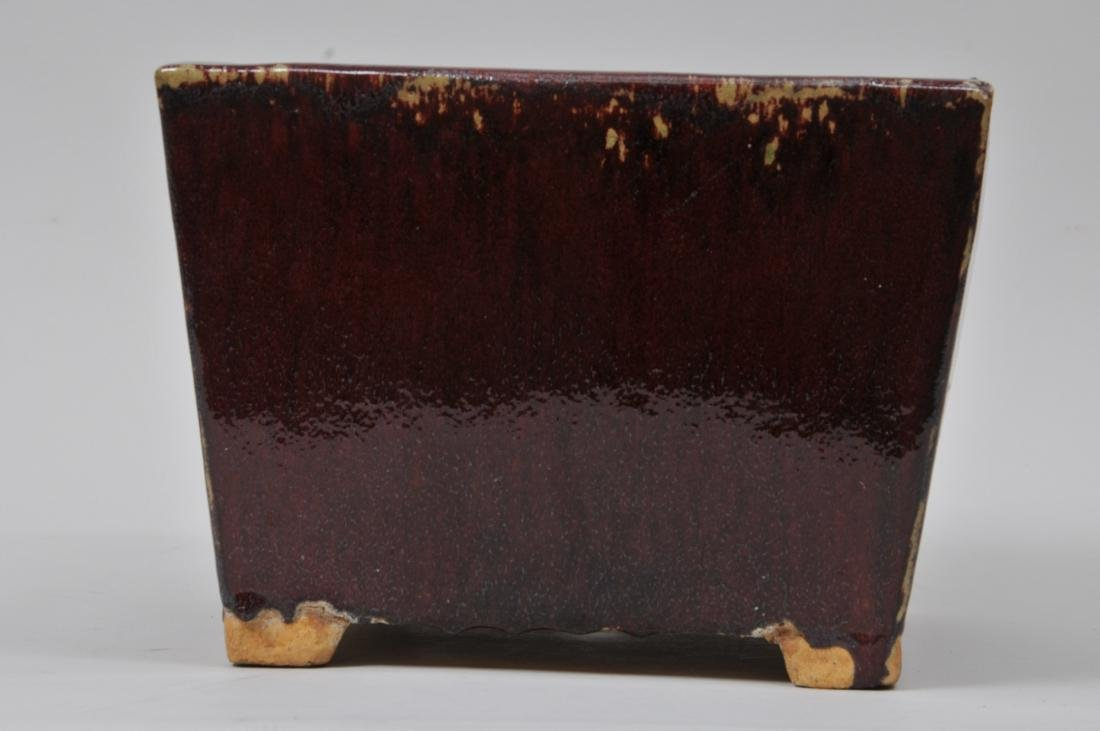 Square stoneware planter. China. Early 20th century. - 3