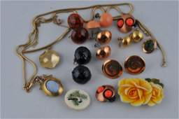 Mixed lot of costume jewelry. Includes seven pairs of