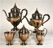 Sterling silver five piece teaset Tall teapot 11