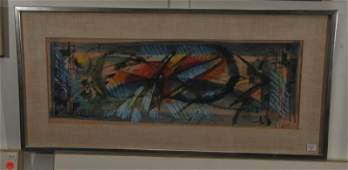 Roger Lersy. Mixed Media painting. Abstract scene from