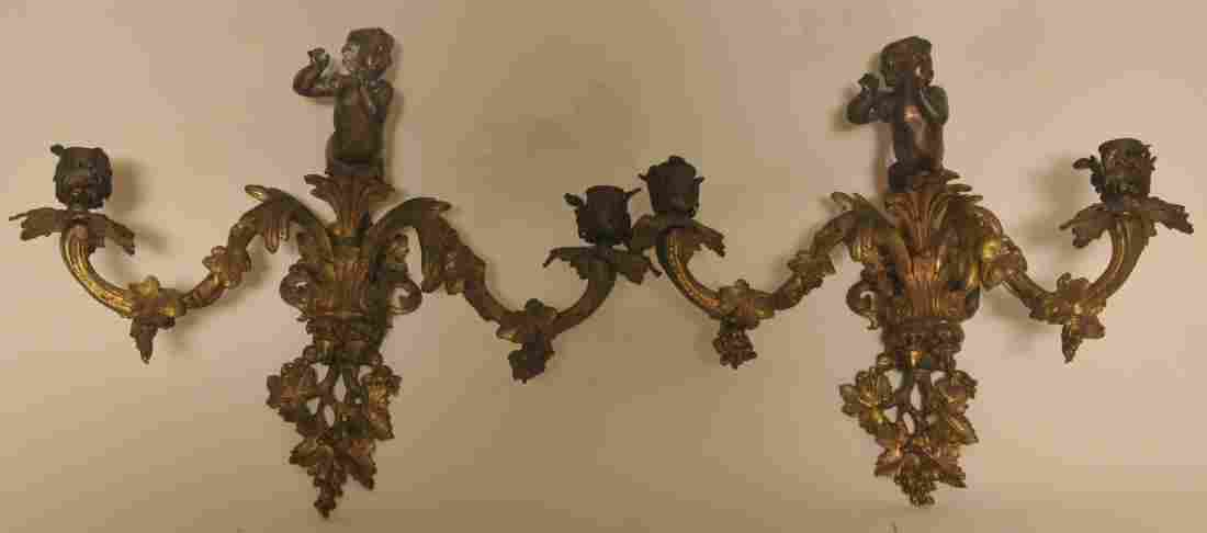 Pair of late 19th century figural gilt bronze gas wall