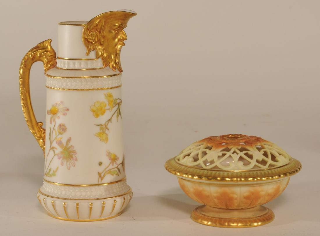 Two pieces of Royal Worcester porcelain. (1)Floral
