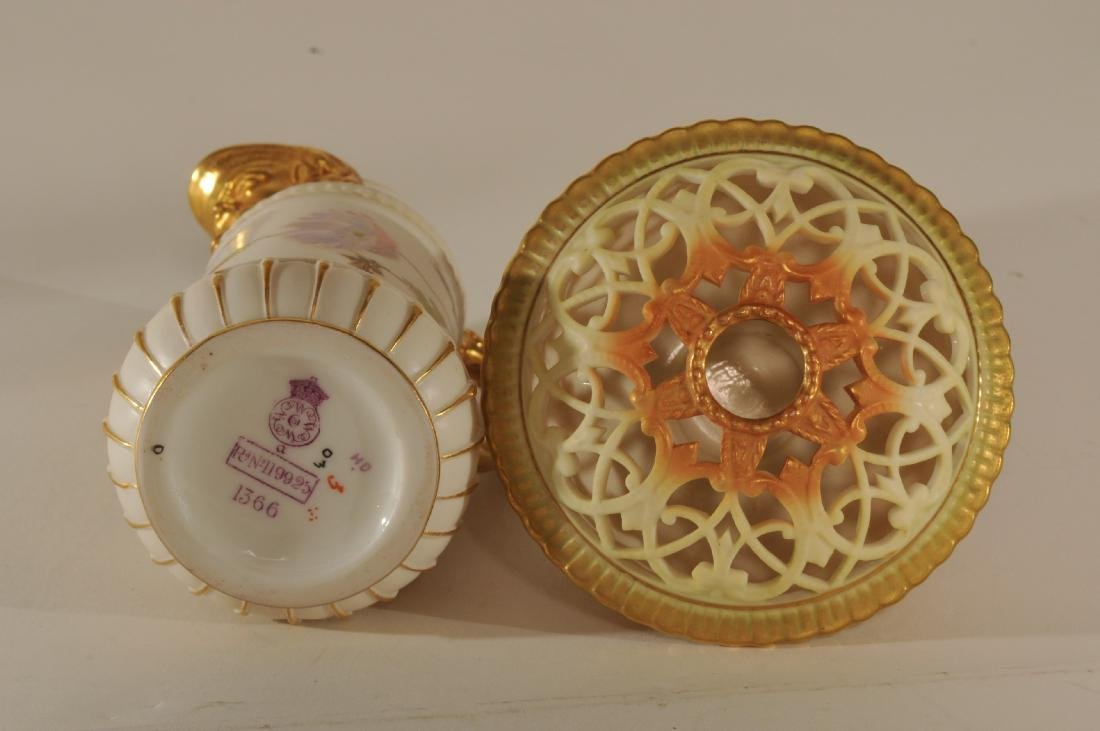 Two pieces of Royal Worcester porcelain. (1)Floral - 6