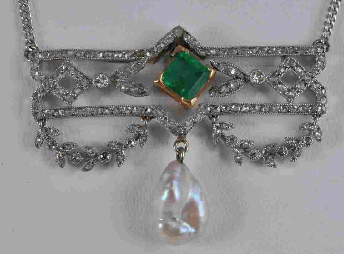 14k white gold, diamond and emerald pendant. Square cut