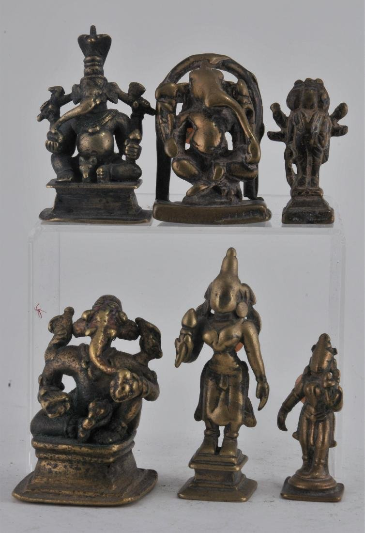 Six bronze Deities. India. 17th century and earlier.
