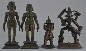 Lot of four bronzes. India. 18th century and earlier. A