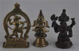 Lot of three bronze images. India. 19th century and