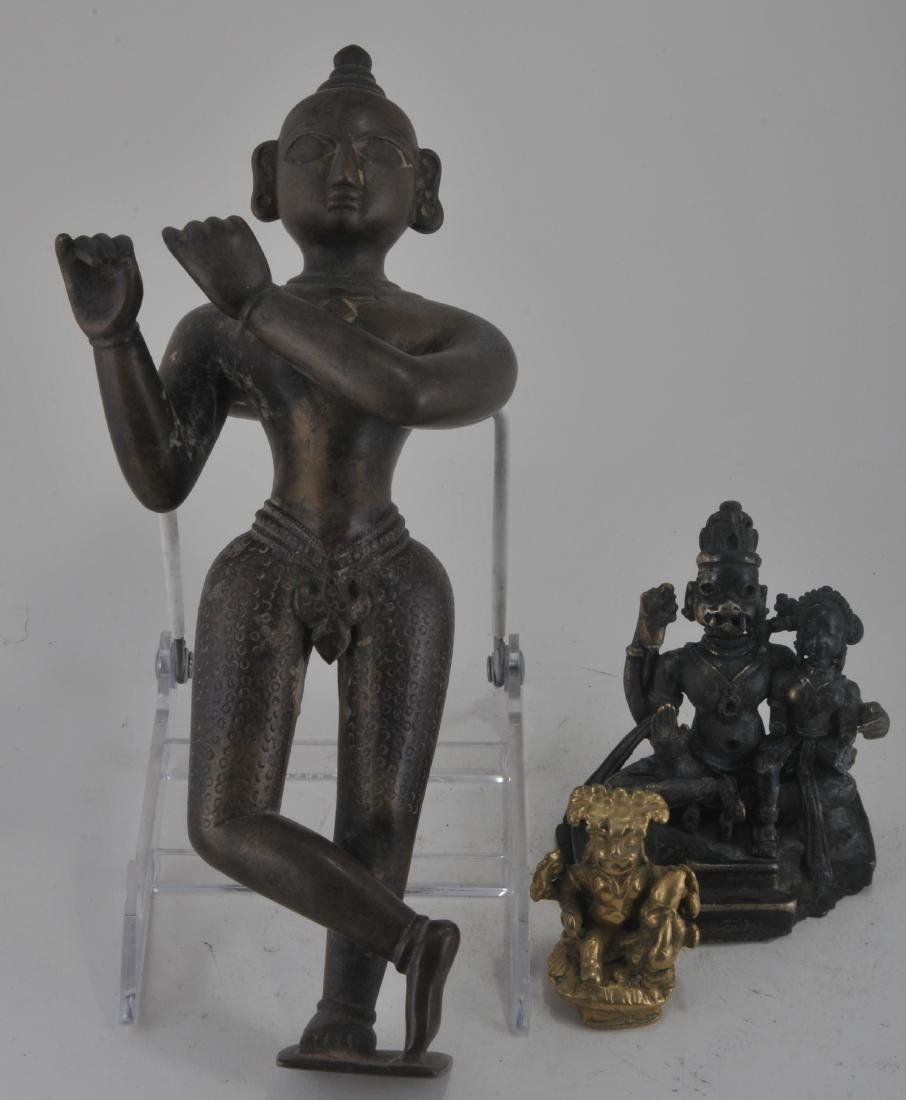 Lot of three bronze images. India. 19th century. To