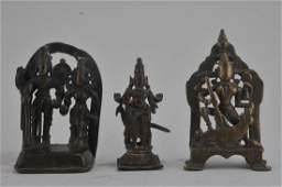 Lot of three bronze images. India. 17th century.