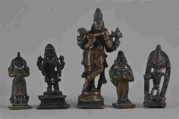 Lot of five bronze images. India. 18th century or