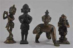 Lot of four bronze images India 19th century Figures