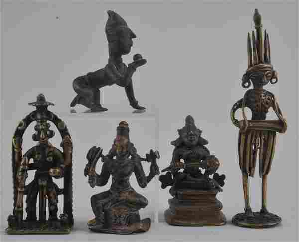 Lot of five bronze figures. India. 19th century or