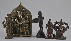 Lot of five bronzes. India. 18th century and earlier.