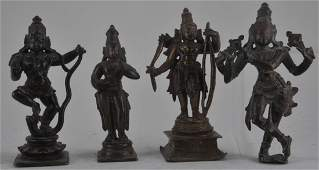 Lot of four bronze images. India. 18th century and
