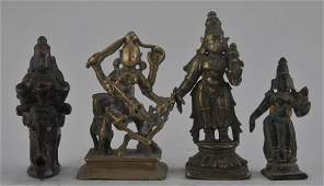 Lot of four bronze images. India. 17th century. Figures