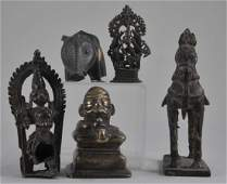 Lot of five bronzes. India. 19th century and earlier.
