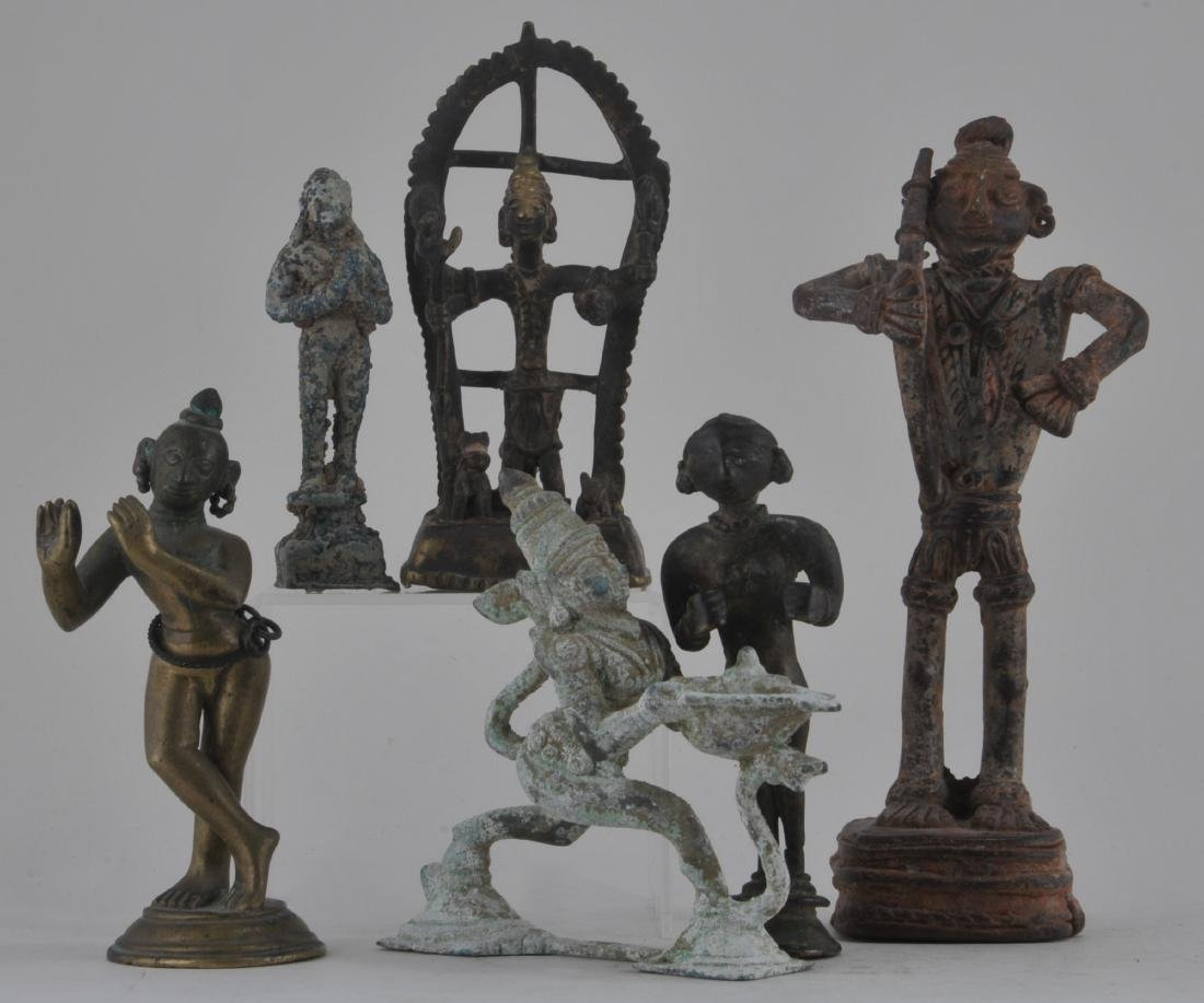 Lot of six bronze images. India. 19th century and