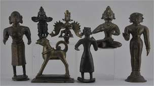 Lot of seven bronzes. India. 19th century and earlier.