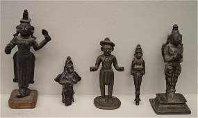 Lot of five bronzes. India, 19th century and earlier. T