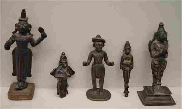 Lot of five bronzes India 19th century and earlier T