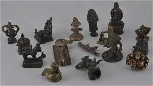 Lot of sixteen bronzes. India. 20th century and
