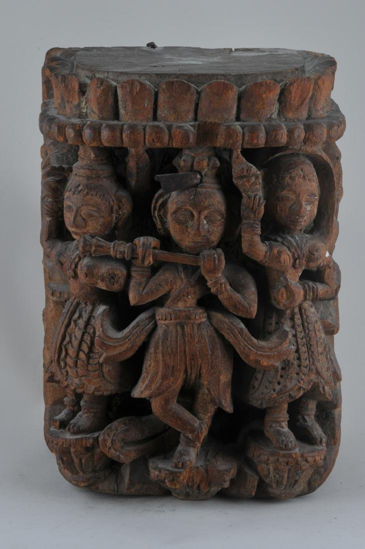 Carved wooden Architectural element. India. 19th