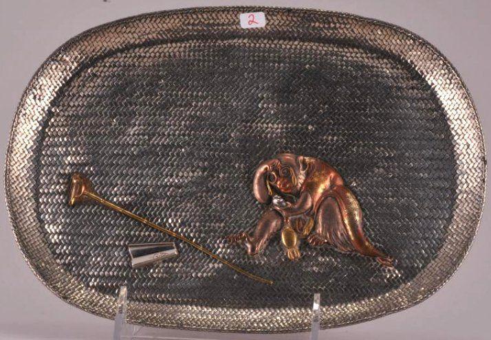 Japanese Meiji period woven silver basket weave tray