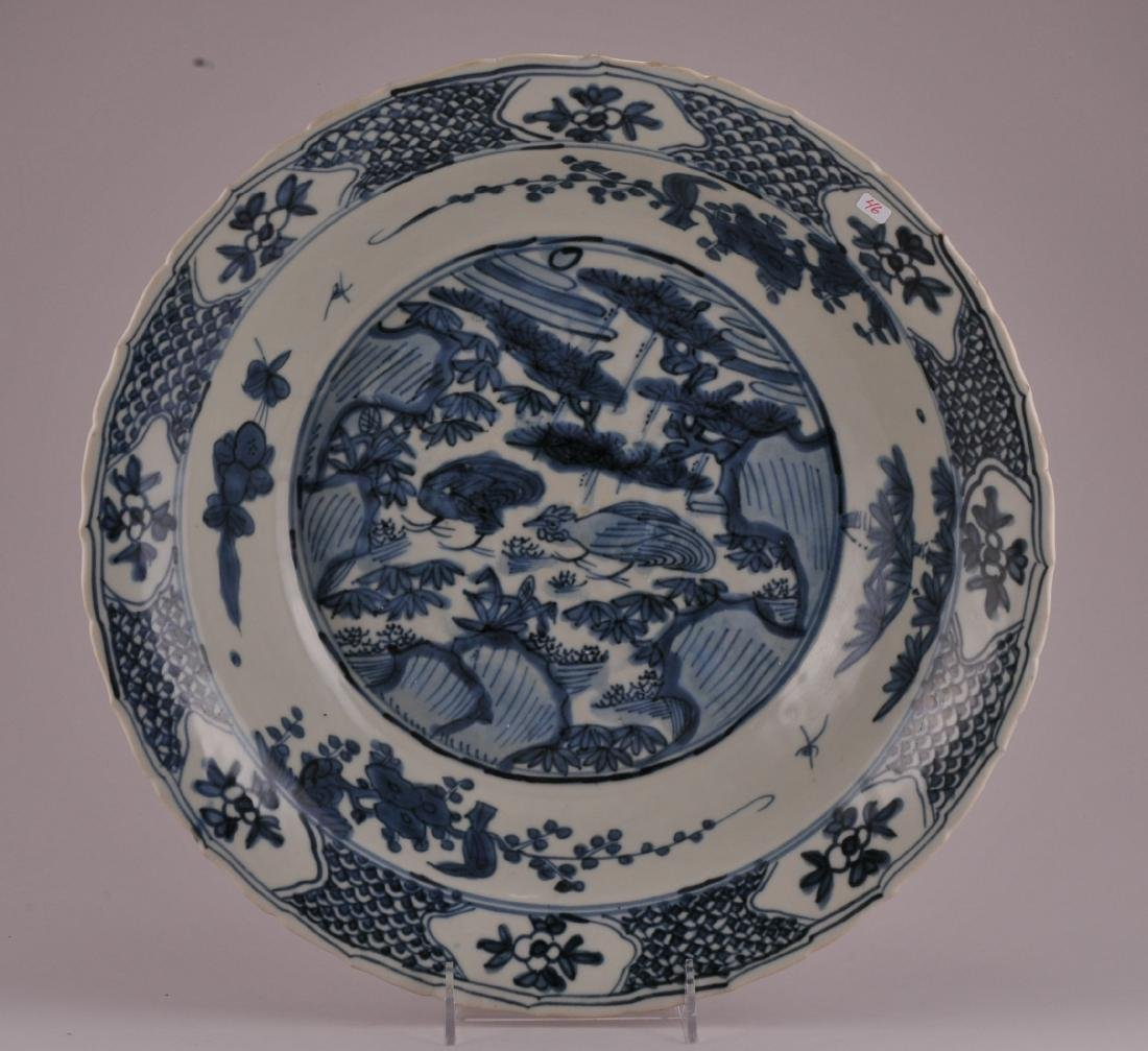 Large Chinese Ming Dynasty Swatow blue and white