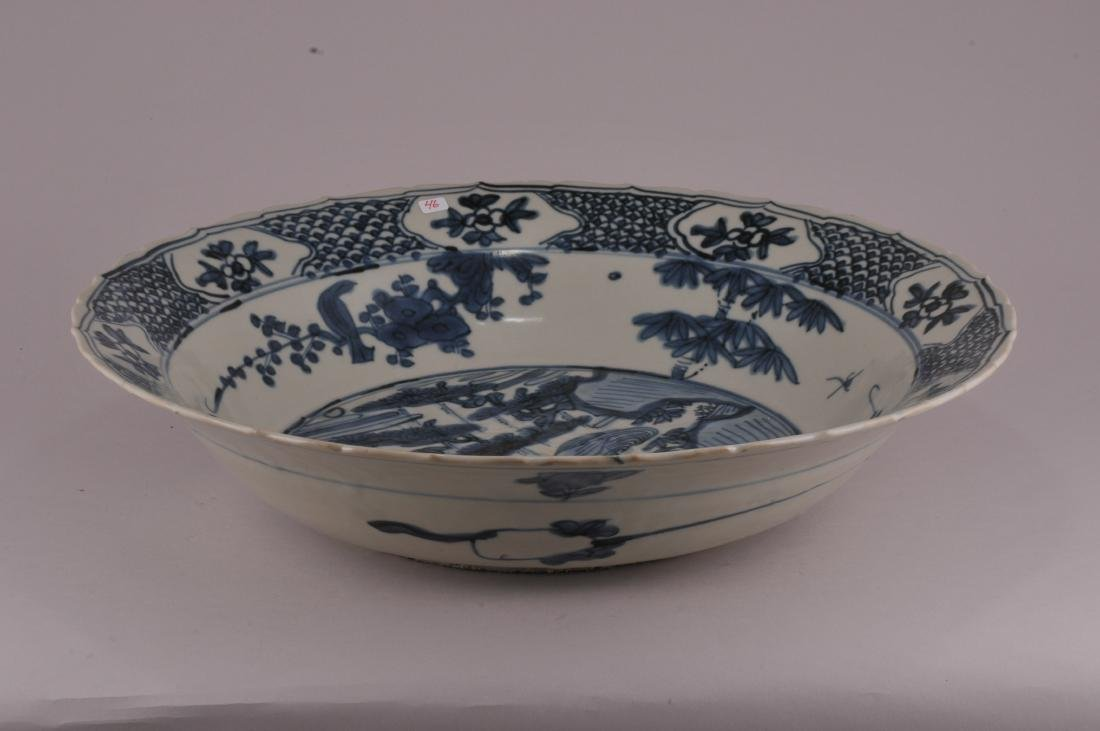Large Chinese Ming Dynasty Swatow blue and white - 5
