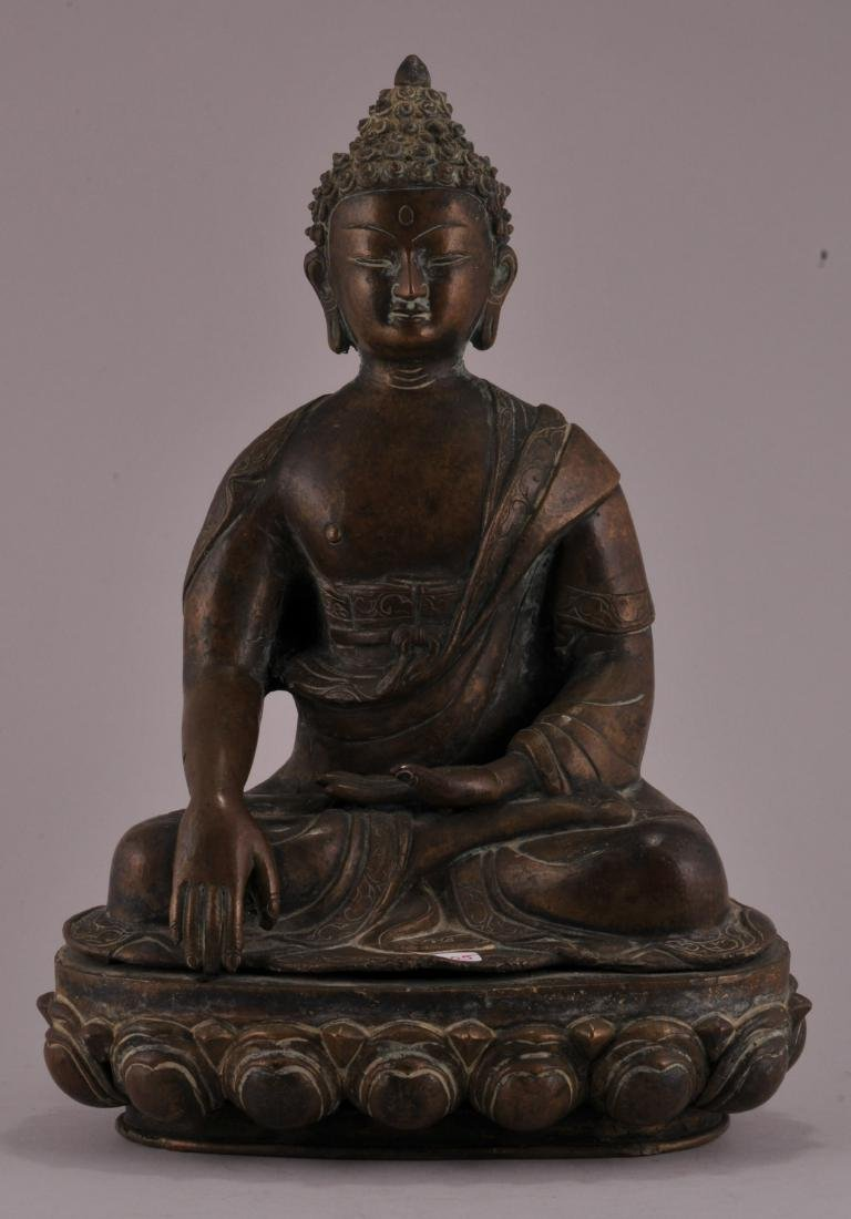 Bronze Buddha. Nepal. 20th century. Seated figure of