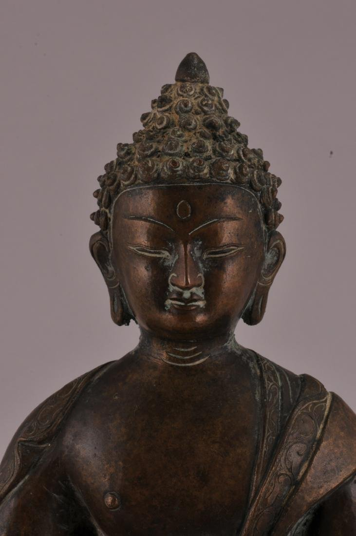 Bronze Buddha. Nepal. 20th century. Seated figure of - 2