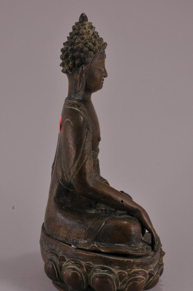 Bronze Buddha. Nepal. 20th century. Seated figure of - 4