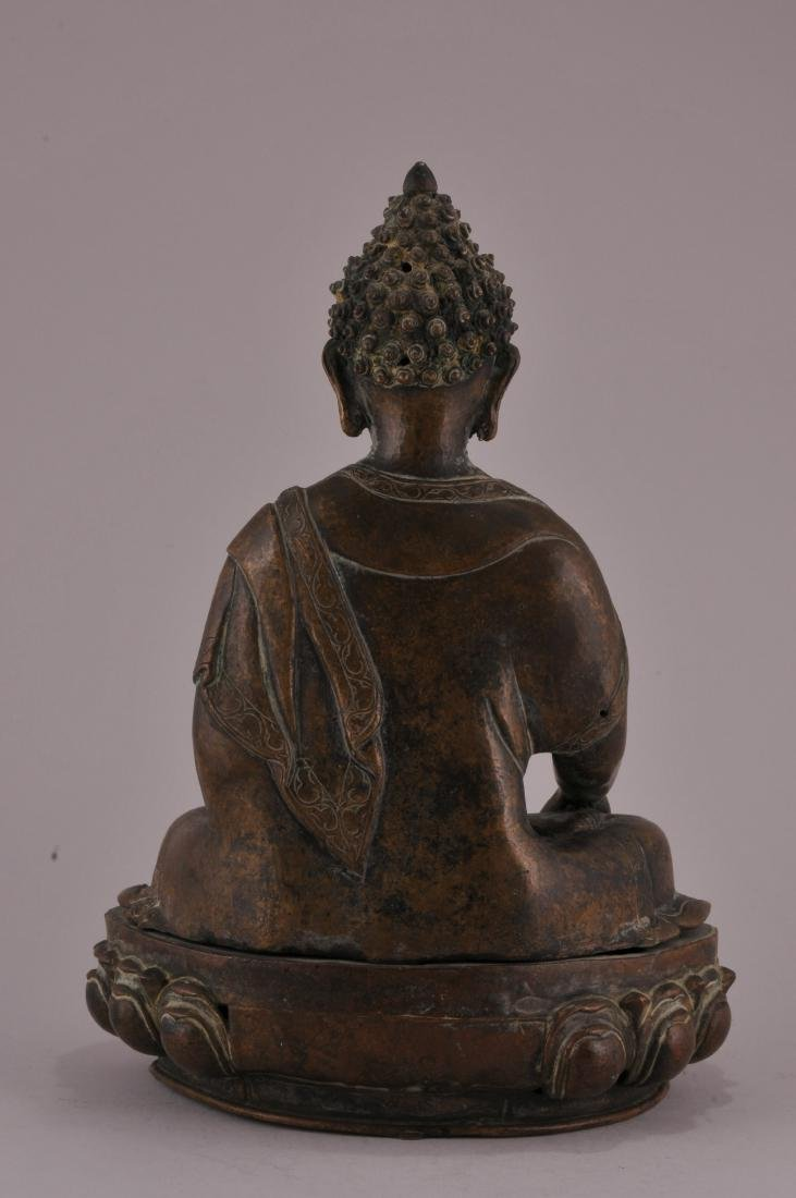 Bronze Buddha. Nepal. 20th century. Seated figure of - 5