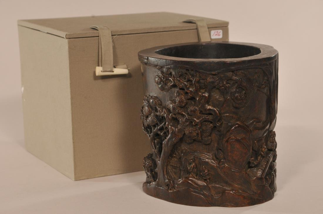 Agarwood brush pot. China. 18th/19th century. Scholars